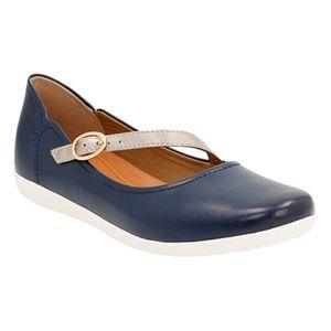 Clarks Helina Amo Navy Blue Leather Mary Jane Flat